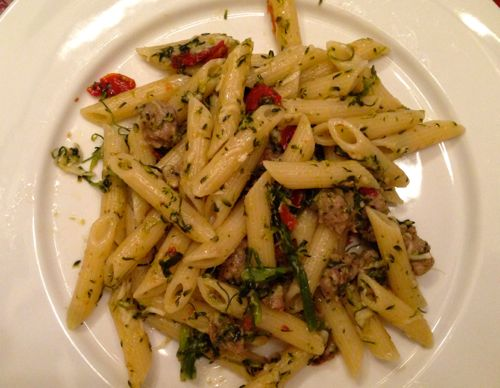 Penne w: broccoli rabe, sausage and sundried tomatoes