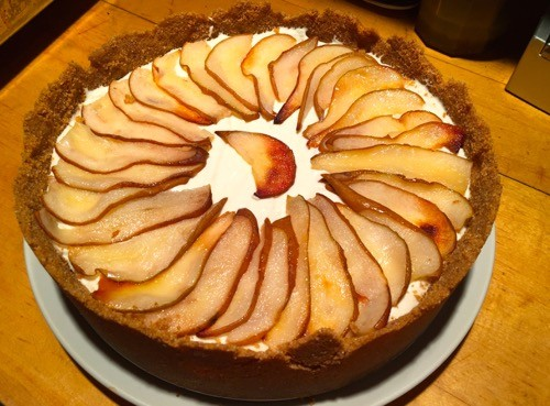 maple cheesecake w roasted pears