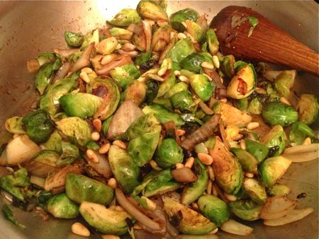 Brussles sprouts with PIne nuts and Balsamic vinegar