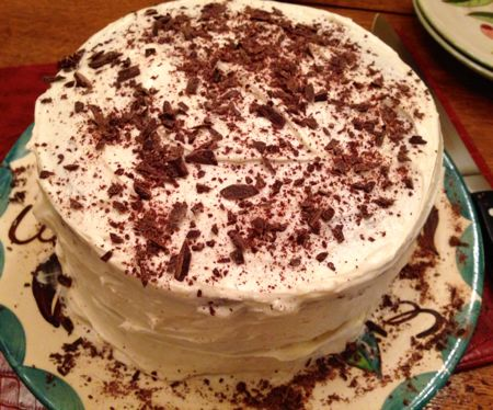 Devils Food Cake with White Icing