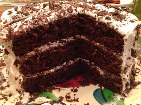 Devil's Food cake with WHite Icing TBTAM