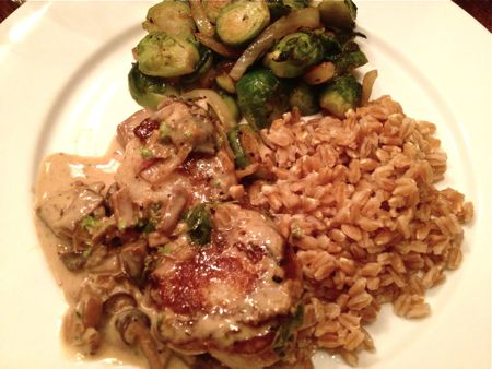 Shallots, Farro and Brussels Sprouts